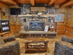 custom fireplace in main lodge bar